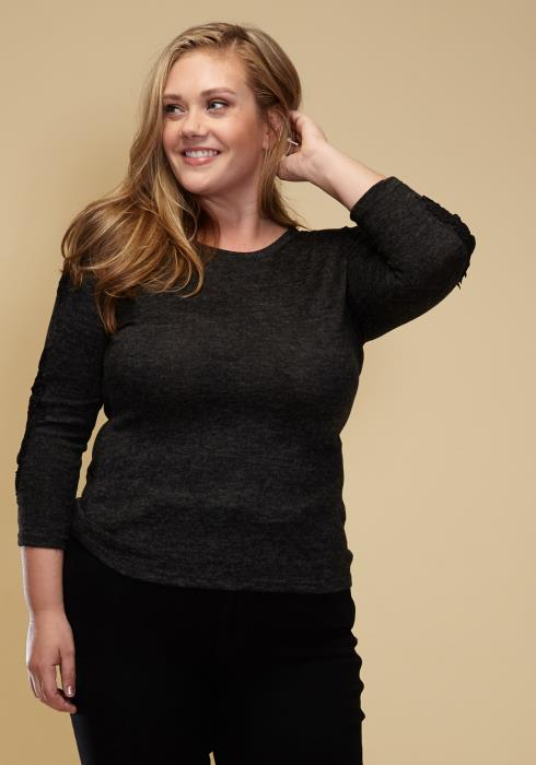 Asoph Plus Size Crochet Lace Trim Knit Sweater