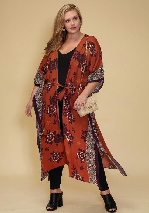 Asoph Plus Size Floral Print Kimono