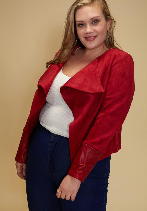 Asoph Plus Size Faux Suede Leather Cuff Jacket