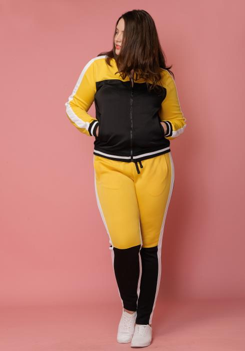 Asoph Plus Size Zip Up Jersey & Pants Set