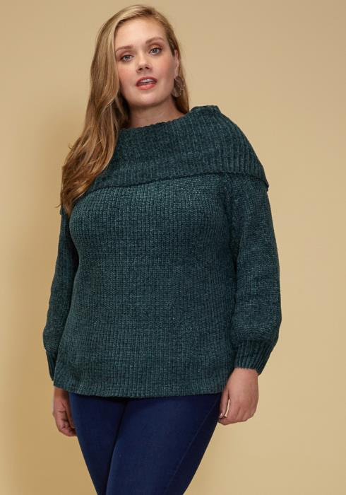 Asoph Plus Size Fold Neck Warm Sweater