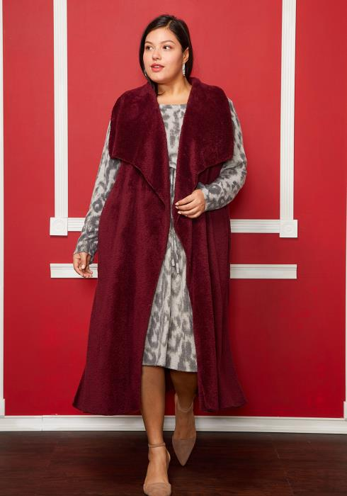 Asoph Plus Size Oversized Collar Sleeveless Long Fur Cardigan