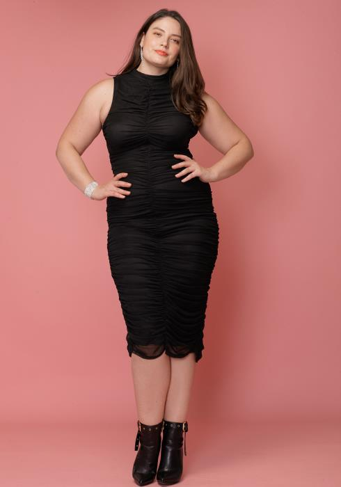 Asoph Plus Size Sexy Mock Neck Ruched Sleeveless Bodycon Club Dress