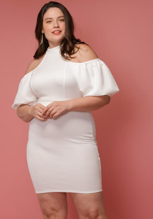 Asoph Plus Size Open Shoulder Mock Neck Cocktail Dress
