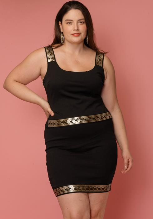 Asoph Plus Size Blackgold Tank & Skirt Set