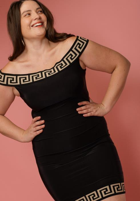 Asoph Plus Size Off Shoulder Fitted Club Dress