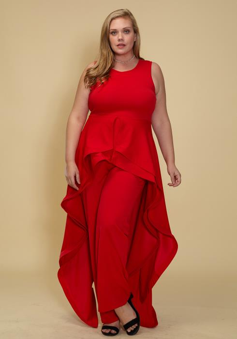Asoph Plus Size Sleeveless Hi-Lo Skirt Attached Jumpsuit