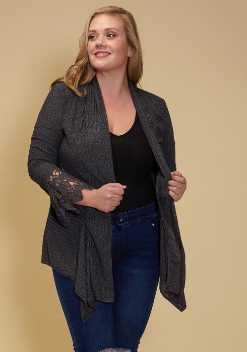 Asoph Plus Size Drape Collar Lace Trim Ribbed Cardigan