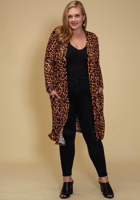 Asoph Plus Size Leopard Open Front Long Cardigan