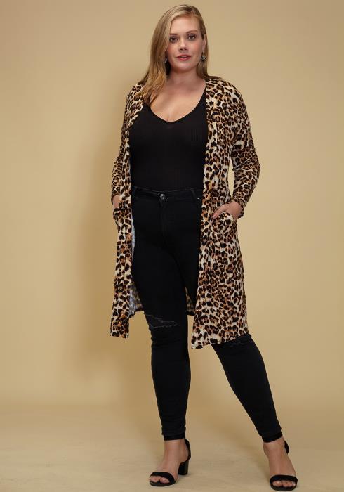 Asoph Plus Size Leopard Cardigan