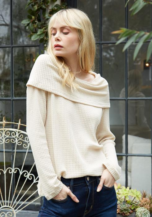 Pleione Draped Cowl Neck Drop Shoulder Top