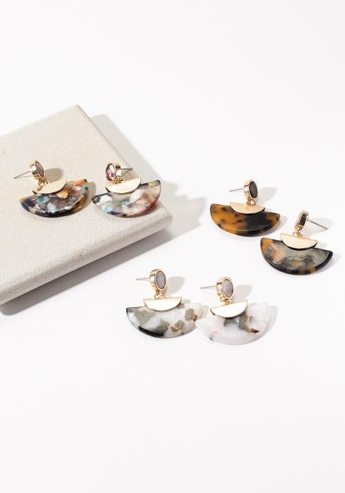 Marble Fan Shape Earring