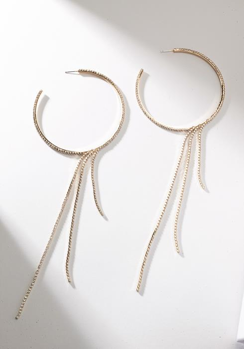 Cubic Hoop Earring With Drops