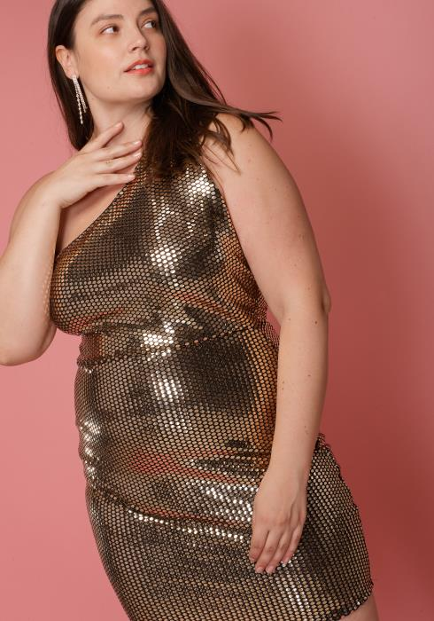 Asoph Plus Size One Shoulder Sequined Mini Club Dress