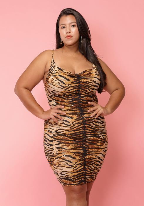 Asoph Plus Size Animal Print Sexy Mini Club Dress