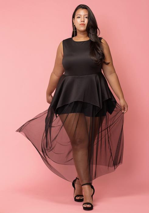 Asoph Plus Size Mesh Hem Peplum Dress