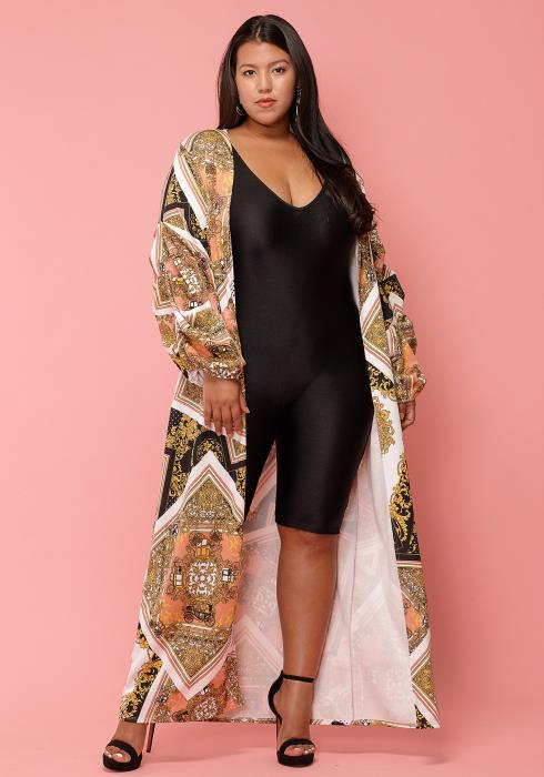Asoph Plus Size Long Open Front Printed Cardigan