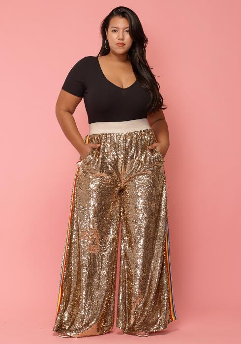 Asoph Plus Size Sequined Wide Leg High Waist Pants