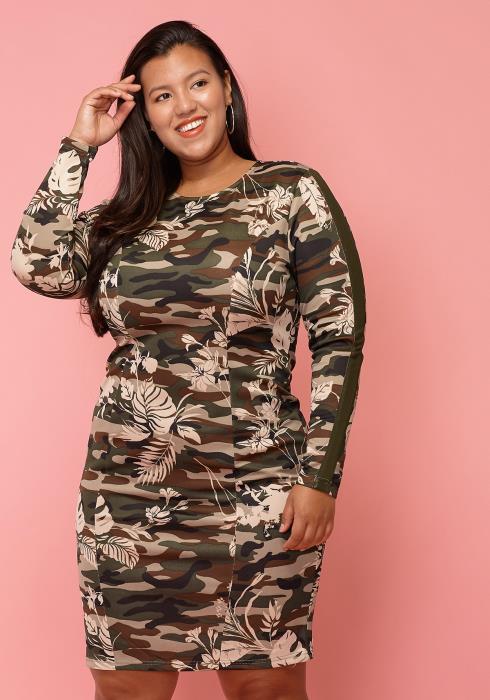 Asoph Plus Size Camo Print Bodycon Dress