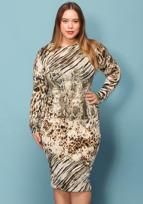 Asoph Plus Size Ultra Soft Midi Bodycon Sweater Dress