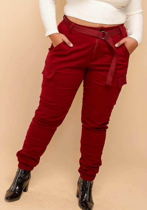Asoph Plus Size Elastic Cuffed Utility Pants With Belt
