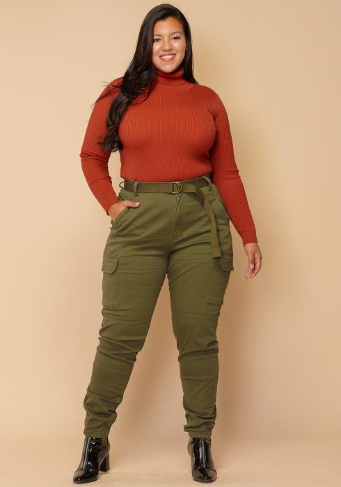 Asoph Plus Size Cuffed High Waist Pants