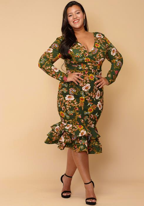 Asoph Plus Size Floral Layered Ruffle Hem Dress