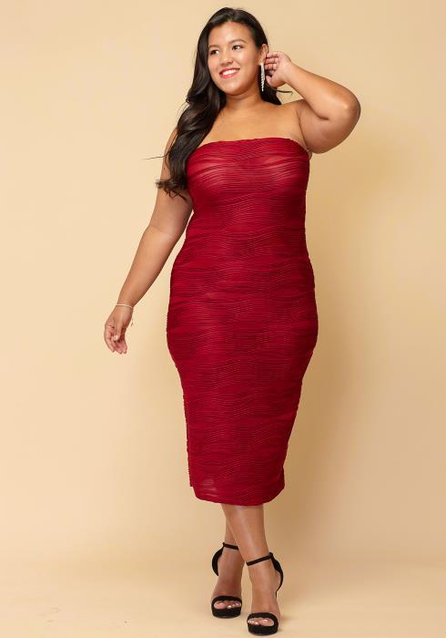 Asoph Plus Size Textured Tube Top Long Dress 49a9f5d0c