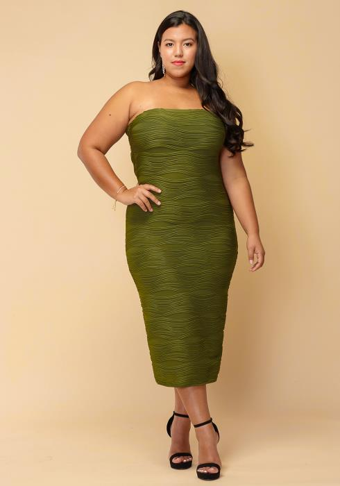 Asoph Plus Size Textured Tube Top Long Dress