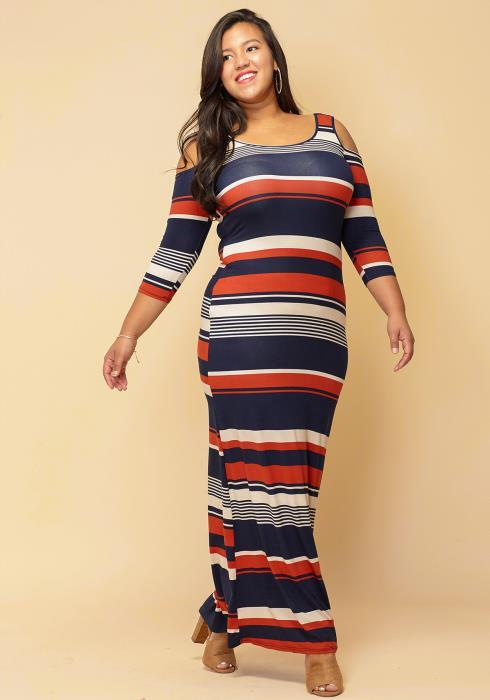 Asoph Plus Size Open Shoulder Multi- Stripe Maxi Vacation Beach Dress