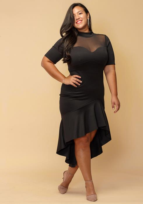 Asoph Plus Size Asymmetrical Hem Sexy Mesh Dress