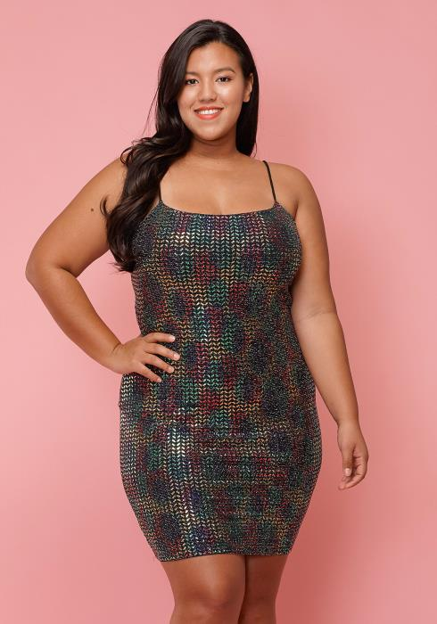 Asoph Plus Size Metallic Chrome Mini Tank Dress