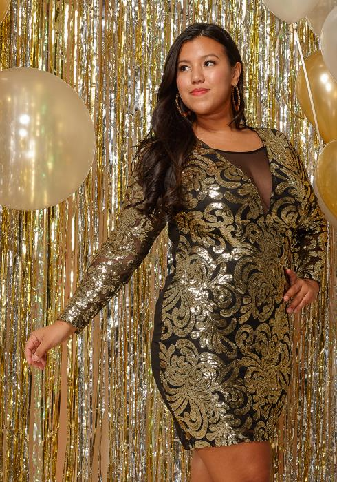 Asoph Plus Size Sequined Mesh Mini Club Dress