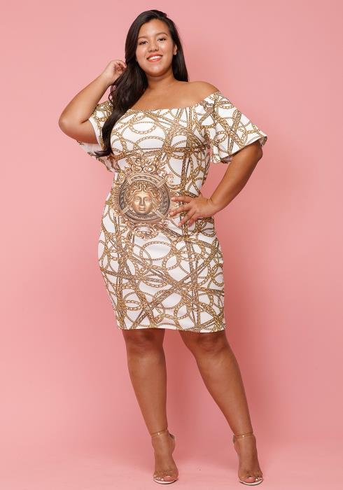 Asoph Plus Size Off Shoulder Gold Chain Printed Dress