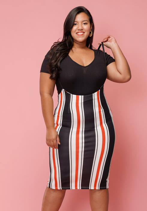 Asoph Plus Size Multi-Color Stripe Skirt