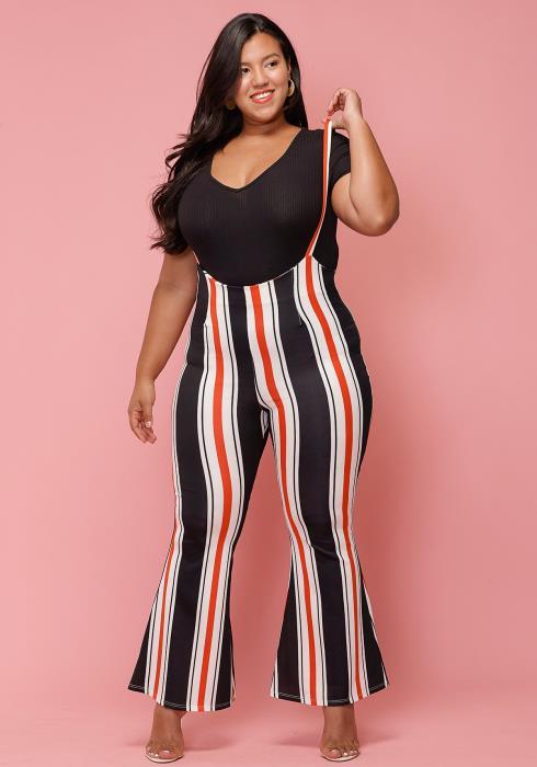Asoph Plus Size Multi-Color Stripe Suspense Flared Pants