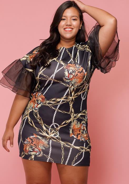 Asoph Plus Size Tiger Print Mesh Ruffle Sleeve Mini Party Dress
