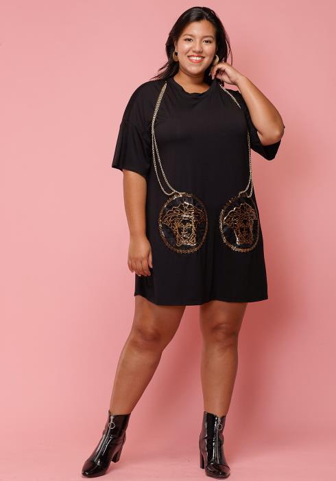 Asoph Plus Size Gold Chain T-Shirt Dress