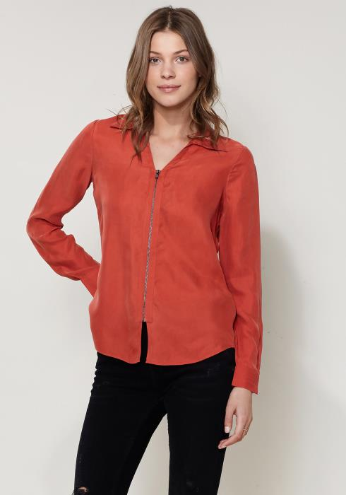 Ro&De Noir Zip Up Shirt Blouse