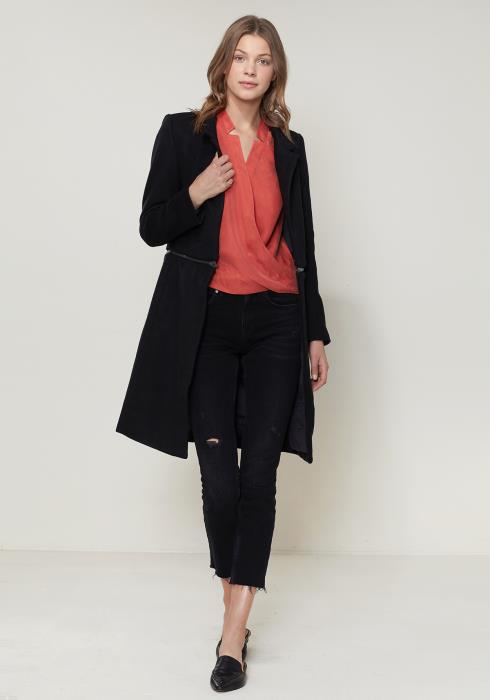 Ro&De Noir Open Front Detachable Long Coat
