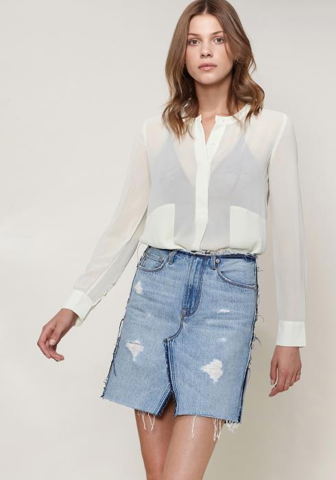 Ro&De Noir Sheer Button Up Blouse