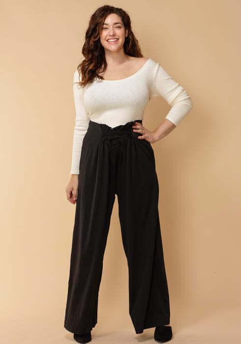 Asoph Plus Size High Waisted Lace Up Front Wide Pants