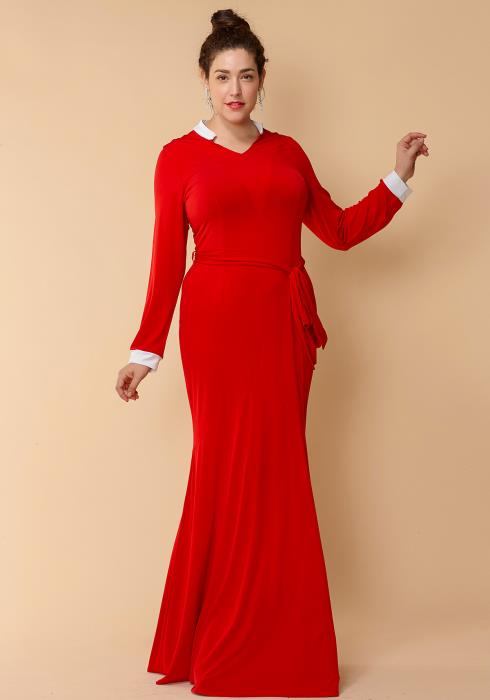 Asoph Plus Size Collared Tie Waist Maxi Party Dress