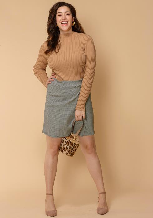 Asoph Plus Size Mini Houndstooth Wrap Skirt