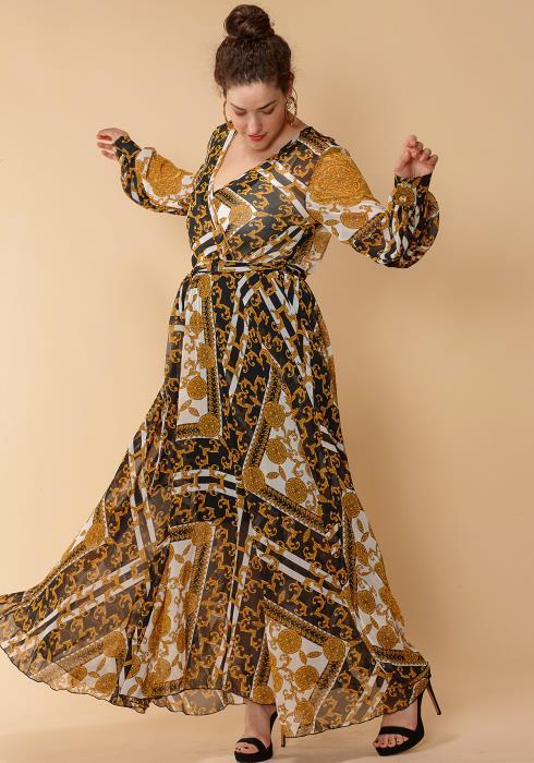 Asoph Plus Size Printed Wrap Maxi Dress