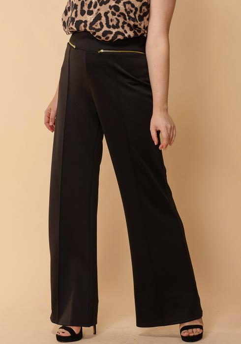 Asoph Plus Size Zipper Pocket Wide High Waist Pants