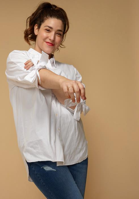 Asoph Plus Size Tie Cuff Button Up Shirt