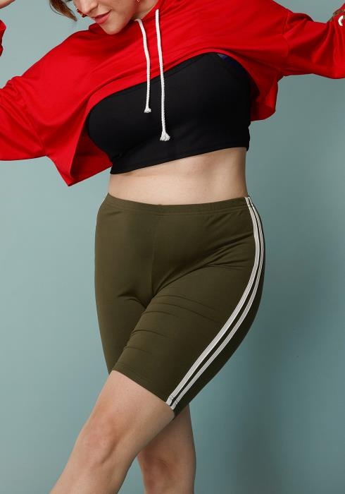 Asoph Plus Size Double Stripe Taped Leggings Shorts