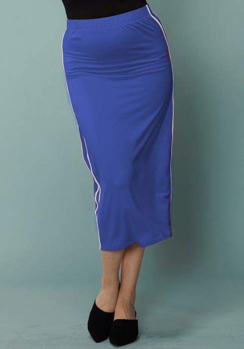 Asoph Plus Size Side Stripe Elasticized Midi Pencil Skirt