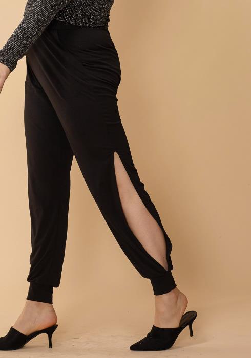 Asoph Plus Size Side Slit Cuffed Pants